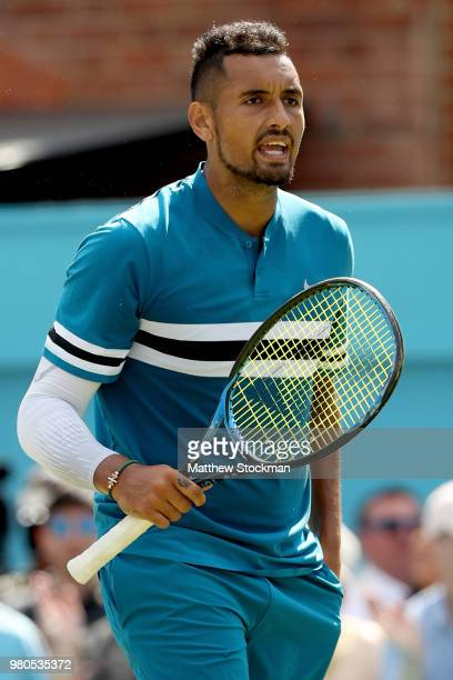 Nick Kyrgios of Australia celebrates match point during his men's singles match against Kyle Edmund of Great Britain on Day Four of the FeverTree...