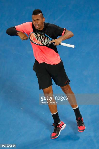 Nick Kyrgios of Australia celebrates match point during his third round match against Jo Wilfried Tsonga of France on day five of the 2018 Australian...