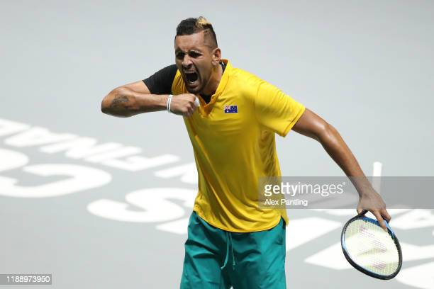 Nick Kyrgios of Australia celebrates match point in his Davis Cup Group Stage match against Steve Darcis of Belgium during Day Three of the 2019...