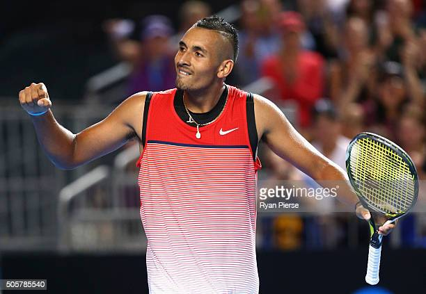Nick Kyrgios of Australia celebrates match point in his second round match against Pabio Cuevas of Uruguay during day three of the 2016 Australian...