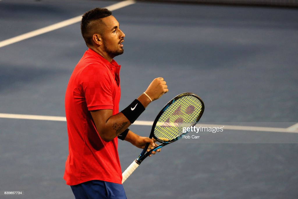 Nick Kyrgios of Australia celebrates match point over David Ferrer of Spain during Day 8 of the Western and Southern Open at the Linder Family Tennis Center on August 19, 2017 in Mason, Ohio.