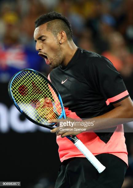 Nick Kyrgios of Australia celebrates set point in his third round match against JoWilfried Tsonga of France on day five of the 2018 Australian Open...