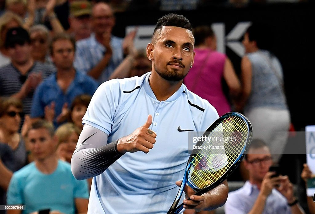 Nick Kyrgios of Australia celebrates victory after winning the Men's Final match against Ryan Harrison of the USA during day eight of the 2018 Brisbane International at Pat Rafter Arena on January 7, 2018 in Brisbane, Australia.