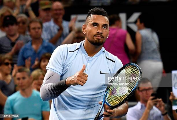 Nick Kyrgios of Australia celebrates victory after winning the Men's Final match against Ryan Harrison of the USA during day eight of the 2018...