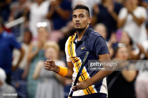 Nick Kyrgios of Australia celebrates victory during his men's singles first round match against Radu Albot of Moldova on Day Two of the 2018 US Open...