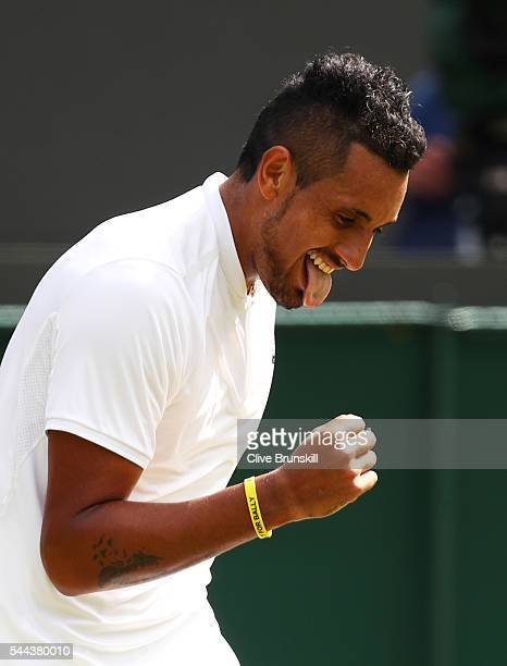 Nick Kyrgios of Australia celebrates victory during the Men's Singles third round match against Feliciano Lopez of Spain on Middle Sunday of the...