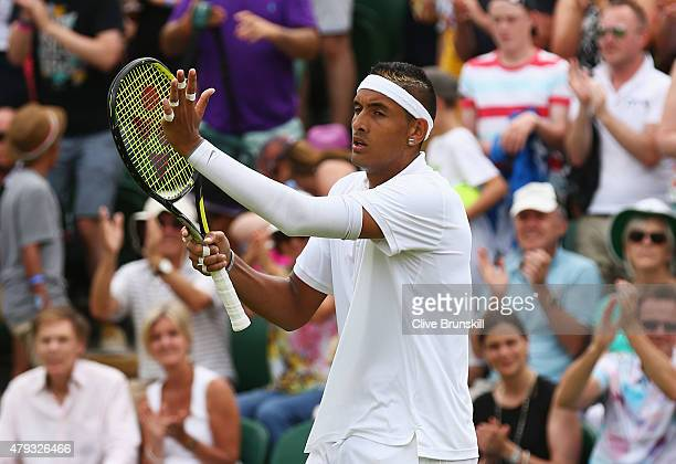 Nick Kyrgios of Australia celebrates victory in his Gentlemen's Singles Third Round match against Milos Raonic of Canada during day five of the...