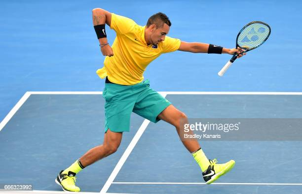 Nick Kyrgios of Australia celebrates winning a point in his match against Sam Querrey of the USA during the Davis Cup World Group Quarterfinals...