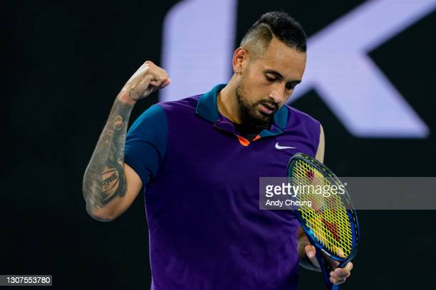 Nick Kyrgios of Australia celebrates winning a point in his Men's Singles third round match against Dominic Thiem of Austria during day five of the...