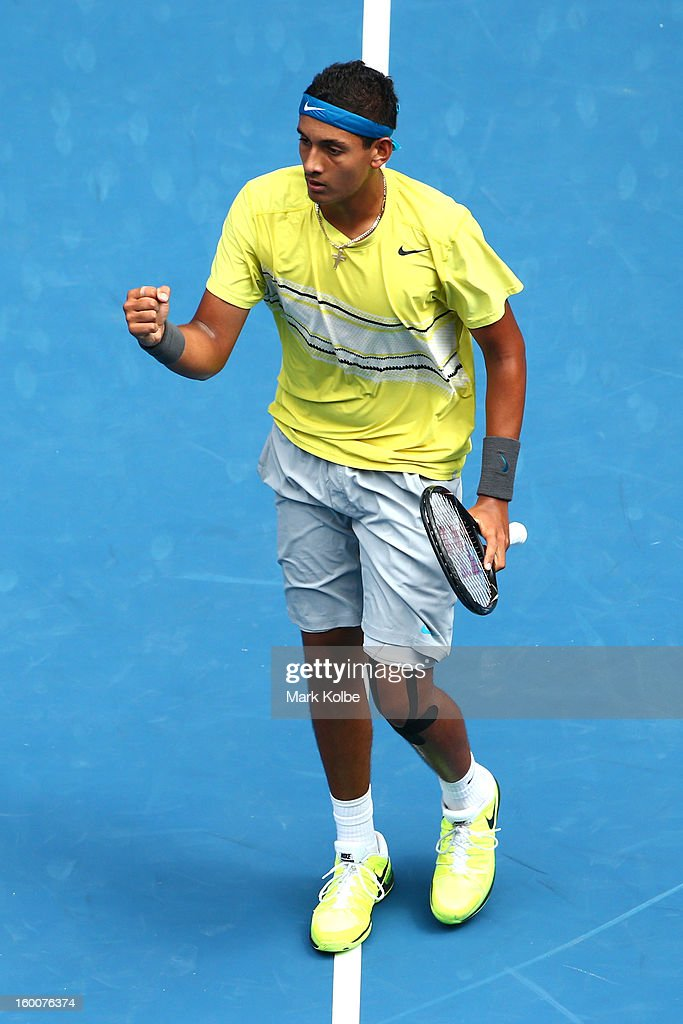 Nick Kyrgios of Australia celebrates winning his junior boys' final match against Thanasi Kokkinakis of Australia during the 2013 Australian Open Junior Championships at Melbourne Park on January 26, 2013 in Melbourne, Australia.