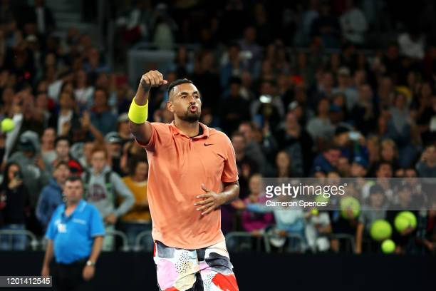 Nick Kyrgios of Australia celebrates winning his Men's Singles second round match against Gilles Simon of France on day four of the 2020 Australian...