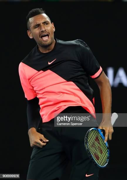 Nick Kyrgios of Australia celebrates winning his third round match against JoWilfried Tsonga of France on day five of the 2018 Australian Open at...