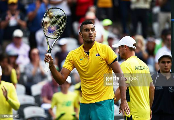 Nick Kyrgios of Australia celebrates winning match point in his singles match against Andrej Martin of Slovakia during the Davis Cup World Group...