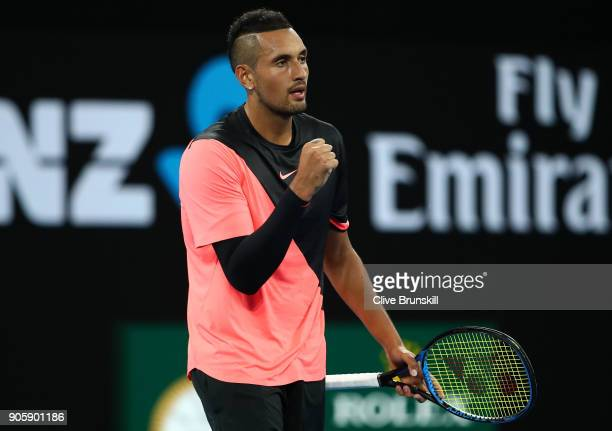 Nick Kyrgios of Australia celebrates winning match point in his second round match against Viktor Troicki of Serbia on day three of the 2018...