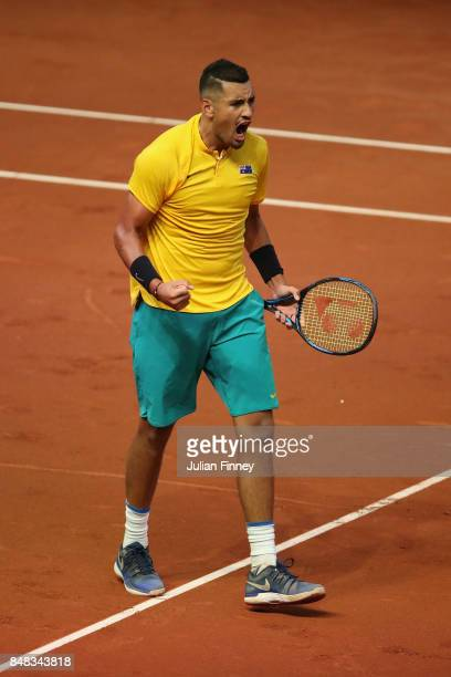 Nick Kyrgios of Australia celebrates winning the first set against David Goffin of Belgium during day three of the Davis Cup World Group semi final...