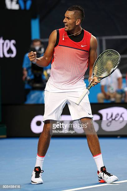 Nick Kyrgios of Australia celebrates winning the second set in his first round match against Pablo Carreno Busta of Spain during day one of the 2016...