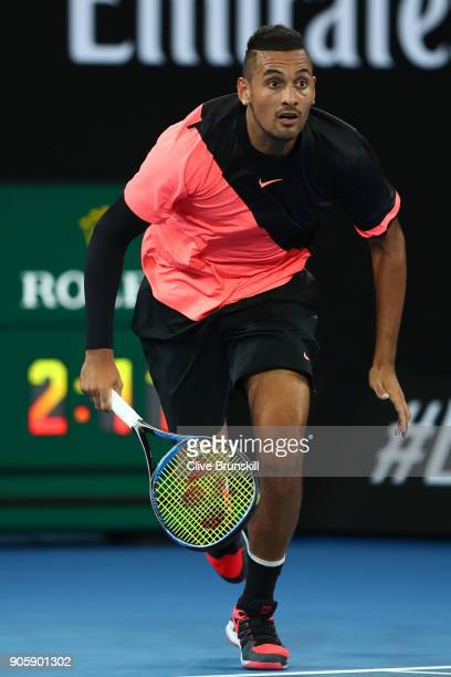 Nick Kyrgios of Australia chases a shot in his second round match against Viktor Troicki of Serbia on day three of the 2018 Australian Open at...