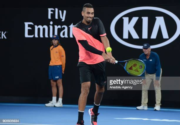 Nick Kyrgios of Australia competes with Viktor Troicki of Serbia on day three of the 2018 Australian Open at Melbourne Park on January 17 2018 in...