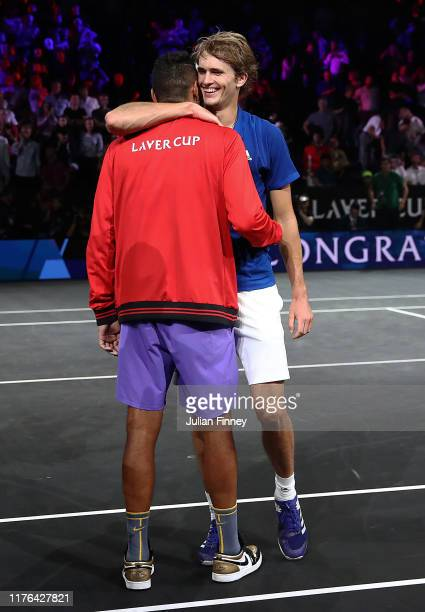 Nick Kyrgios of Australia congratulates Alexander Zverev of Team Europe after defeating Milos Raonic of Team World during Day Three of the Laver Cup...