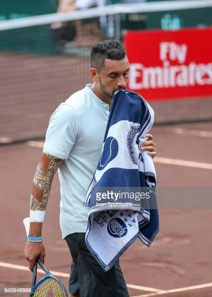 Nick Kyrgios of Australia crosses the court in the match against Ivo Karlovic of Croatia during the Quarterfinal round of the Men's Clay Court...