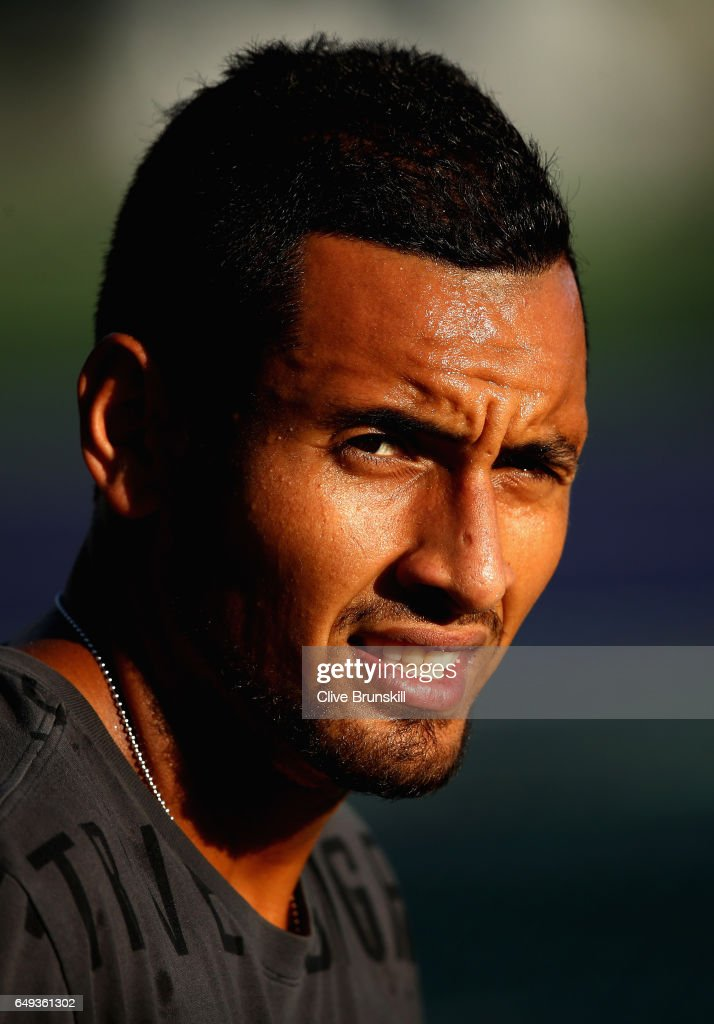 Nick Kyrgios of Australia during a practice session on day two of the BNP Paribas Open at Indian Wells Tennis Garden on March 7, 2017 in Indian Wells, California.