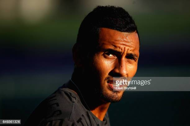 Nick Kyrgios of Australia during a practice session on day two of the BNP Paribas Open at Indian Wells Tennis Garden on March 7 2017 in Indian Wells...