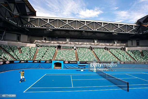 Nick Kyrgios of Australia during the first hit out of the new look Margaret Court Arena at Melbourne Park on December 19 2013 in Melbourne Australia...