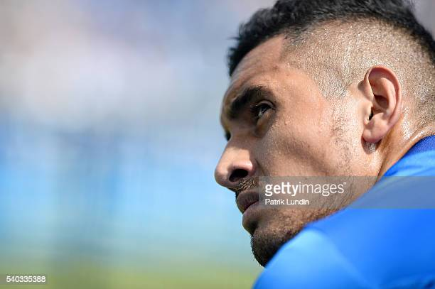 Nick Kyrgios of Australia during the match against Milos Raonic of Canada on day 3 at Queens Club on June 15 2016 in London England