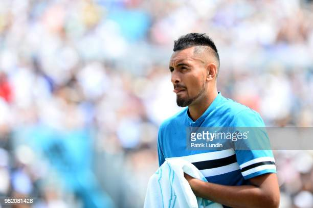 Nick Kyrgios of Australia during the semi final match against Marin Cilic of Croatia during Day six of the FeverTree Championships at Queens Club on...