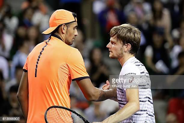 Nick Kyrgios of Australia greets David Goffin of Belgium after winning the men's singles final match on day seven of Rakuten Open 2016 at Ariake...