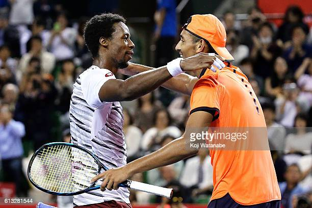 Nick Kyrgios of Australia greets Gael Monfils of France after winning the men's singles semifinal match against on day six of Rakuten Open 2016 at...