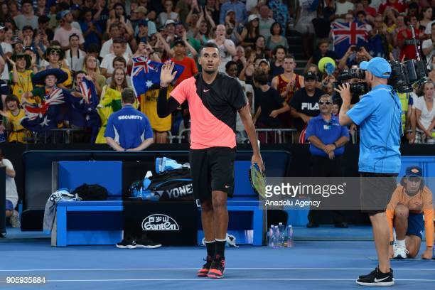 Nick Kyrgios of Australia greets people after competing with Viktor Troicki of Serbia on day three of the 2018 Australian Open at Melbourne Park on...
