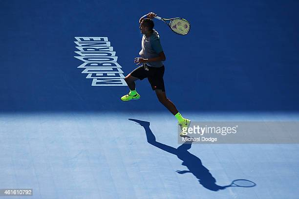 Nick Kyrgios of Australia hits a backhand during a practice session ahead of the 2015 Australian Open at Melbourne Park on January 16 2015 in...