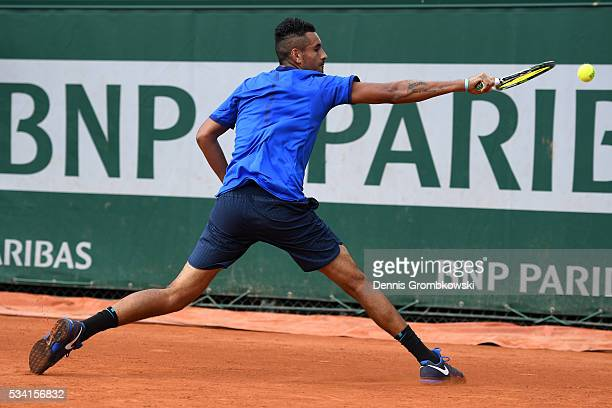 Nick Kyrgios of Australia hits a backhand during the Men's Singles second round match against Igor Sijsling of Netherlands on day four of the 2016...