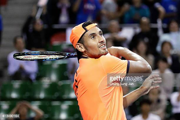 Nick Kyrgios of Australia hits a ball for fans after winning the men's singles final match against David Goffin of Belgium on day seven of Rakuten...