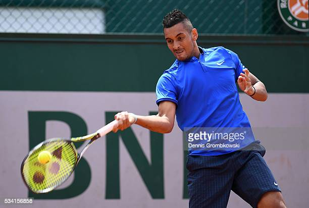 Nick Kyrgios of Australia hits a forehand during the Men's Singles second round match against Igor Sijsling of Netherlands on day four of the 2016...