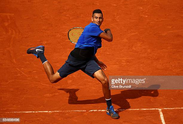 Nick Kyrgios of Australia hits a forehand during the Men's Singles third round match against Richard Gasquet of France on day six of the 2016 French...