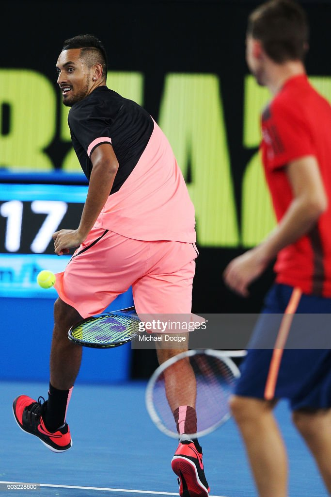 Nick Kyrgios of Australia hits the ball through his legs during the Tie Break Tens ahead of the 2018 Australian Open at Margaret Court Arena on January 10, 2018 in Melbourne, Australia.