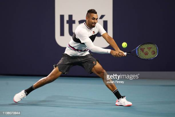 Nick Kyrgios of Australia in action against Dusan Lajovic of Serbia during day seven at the Miami Open Tennis on March 24 2019 in Miami Gardens...