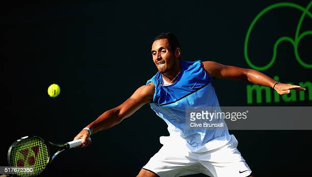 Nick Kyrgios of Australia in action during his second round match against Marcos Baghdatis of Cyprus during the Miami Open Presented by Itau at...