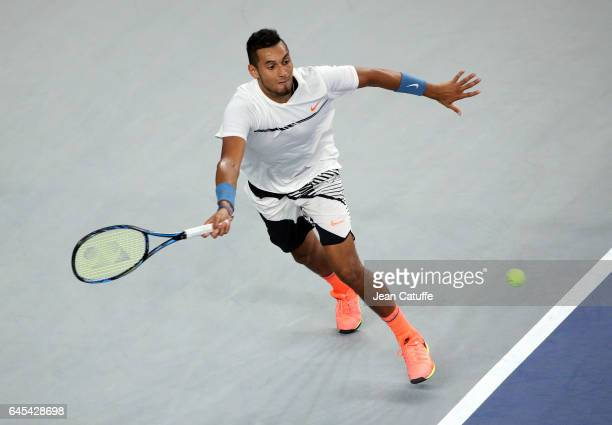 Nick Kyrgios of Australia in action during his semi-final at the Open 13, an ATP 250 tennis tournament at Palais des Sports on February 25, 2017 in...