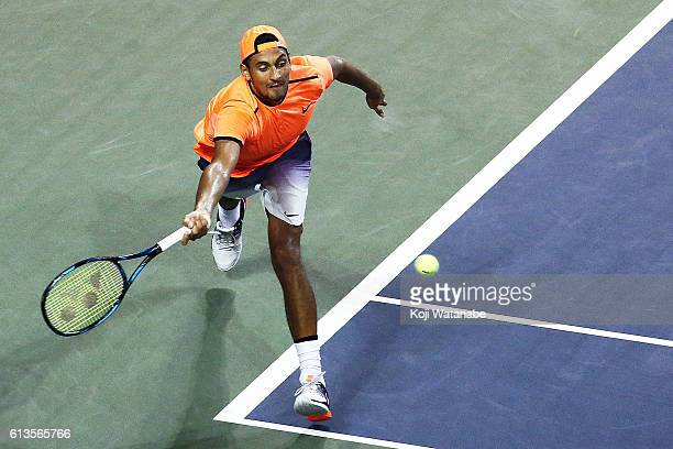 Nick Kyrgios of Australia in action during the men's singles final match against David Goffin of Belgium on day seven of Rakuten Open 2016 at Ariake...