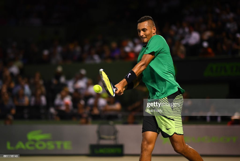 Nick Kyrgios of Australia in action during the quarterfinals match against Alexander Zverev of Germany on day 11 of the Miami Open at Crandon Park Tennis Center on March 30, 2017 in Key Biscayne, Florida.