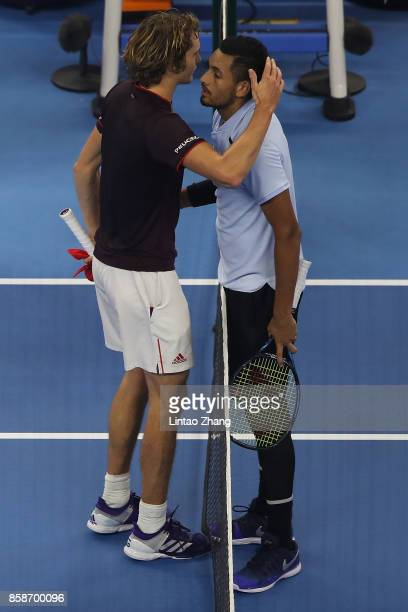 Nick Kyrgios of Australia is congratulated by Alexander Zverev of Germany after winning the Men's singles Semifinals on day eight of 2017 China Open...