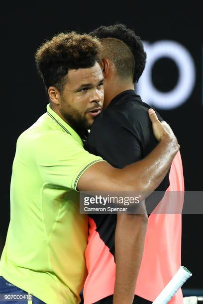 Nick Kyrgios of Australia is congratulated by JoWilfried Tsonga of France after winning their third round match on day five of the 2018 Australian...