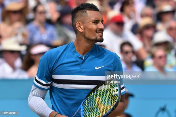 Nick Kyrgios of Australia is pictured during the semi final singles match on day six of Fever Tree Championships at Queen's Club London on June 23...