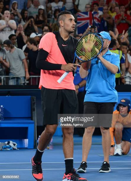 Nick Kyrgios of Australia is seen competing with Viktor Troicki of Serbia on day three of the 2018 Australian Open at Melbourne Park on January 17...