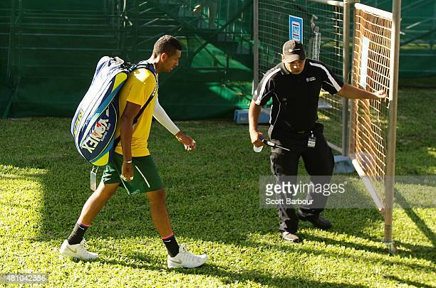 Nick Kyrgios of Australia leaves the arena after losing his match against Aleksandr Nedovyesov of Kazakhstan during day one of the Davis Cup World...
