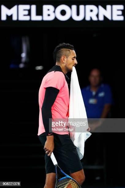 Nick Kyrgios of Australia looks dejected against Grigor Dimitrov of Bulgaria in his fourth round match against Nick Kyrgios of Australia on day seven...