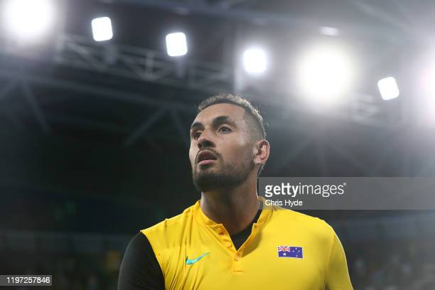 Nick Kyrgios of Australia looks on after winning his match against JanLennard Struff of Germany during day one of the 2020 ATP Cup Group Stage at Pat...